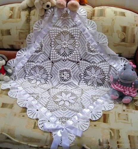 Кружевное одеяло для новорожденного малыша крючком