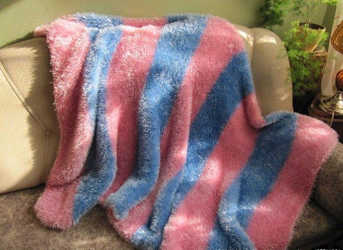 Одеяло в полоску из травки спицами