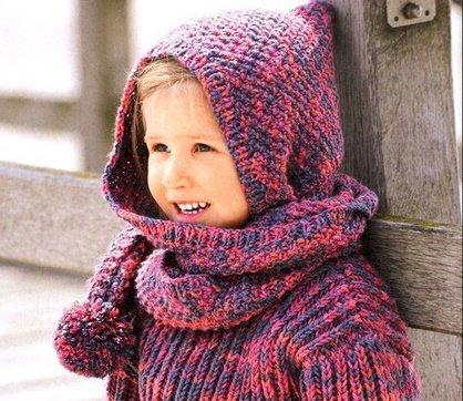 Капюшон-шарф для девочки спицами