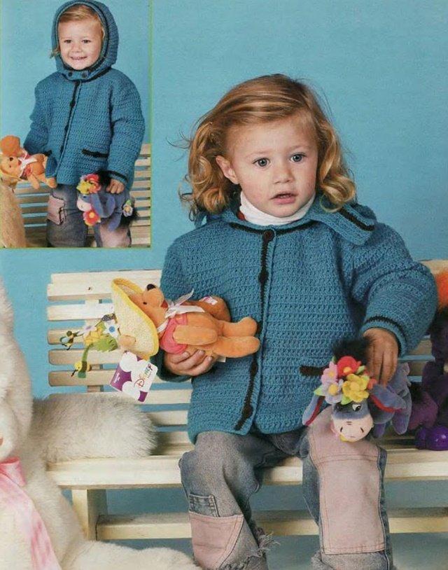 Куртка с капюшоном для девочки крючком