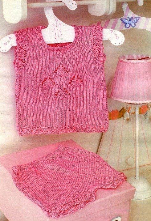 Комплект топ и шорты для девочки спицами