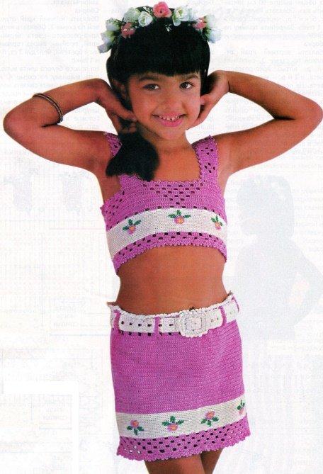 Летний комплект: топ и юбка для девочки крючком