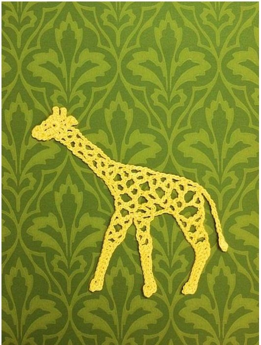 Аппликация Жираф крючком