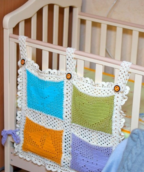 Карман для детской кроватки крючком