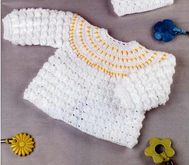 Нарядная кофточка для новорожденного мальчика крючком