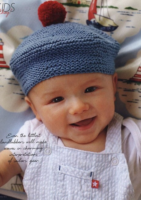 Забавная шапочка с помпоном для мальчика спицами