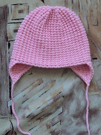 Классическая шапочка для девочки с ушками
