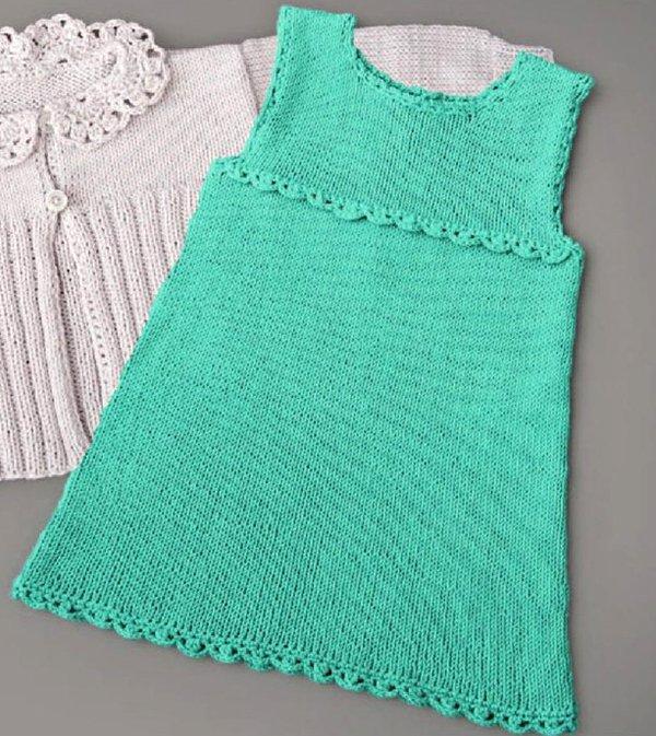 Платье из хлопка для новорожденной девочки спицами