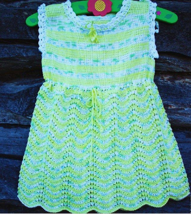 Летнее платье для новорожденной девочки спицами