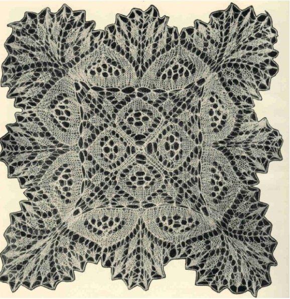 Квадратная ажурная салфетка спицами